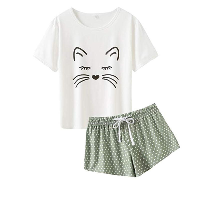 VENTELAN Women Pajamas Cute Tank and Shorts Set Soft PJS Summer